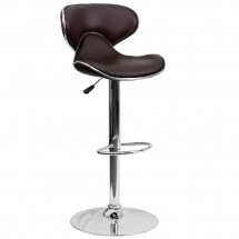 Flash Furniture DS-815-BRN-GG Contemporary Cozy Mid-Back Brown Vinyl Adjustable Height Bar Stool
