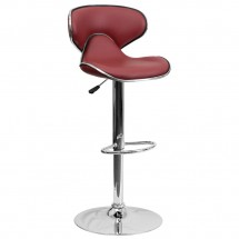 Flash Furniture DS-815-BURG-GG Contemporary Cozy Mid-Back Burgundy Vinyl Adjustable Height Bar Stool