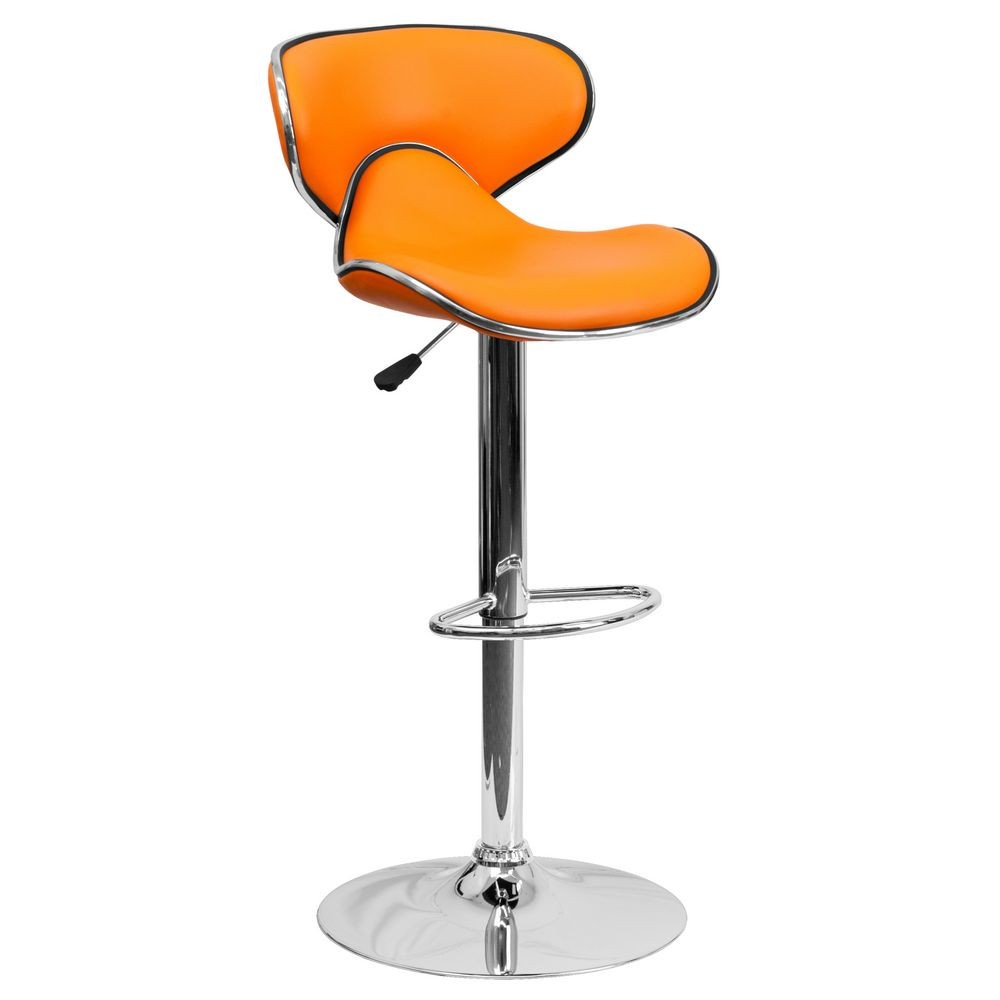 Flash Furniture DS-815-ORG-GG Contemporary Cozy Mid-Back Orange Vinyl Adjustable Height Bar Stool