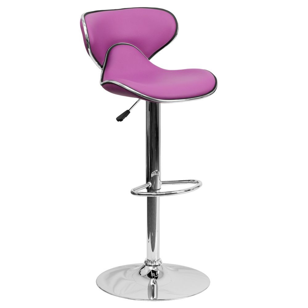 Flash Furniture DS-815-PUR-GG Contemporary Cozy Mid-Back Purple Vinyl Adjustable Height Bar Stool