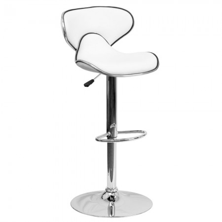 Flash Furniture DS-815-WH-GG Contemporary Cozy Mid-Back White Vinyl Adjustable Height Bar Stool