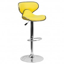 Flash Furniture DS-815-YEL-GG Contemporary Cozy Mid-Back Yellow Vinyl Adjustable Height Bar Stool