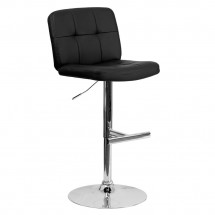 Flash Furniture DS-829-BK-GG Contemporary Tufted Black Vinyl Adjustable Height Bar Stool