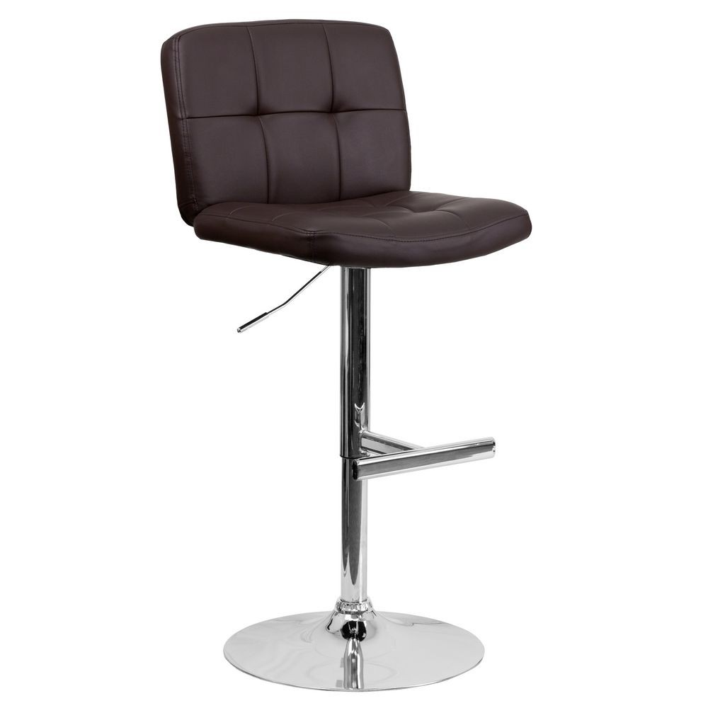 Flash Furniture DS-829-BRN-GG Contemporary Tufted Brown Vinyl Adjustable Height Bar Stool