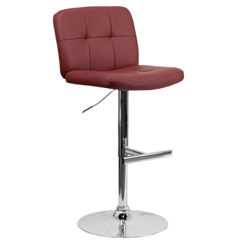 Flash Furniture DS-829-BURG-GG Contemporary Tufted Burgundy Vinyl Adjustable Height Bar Stool