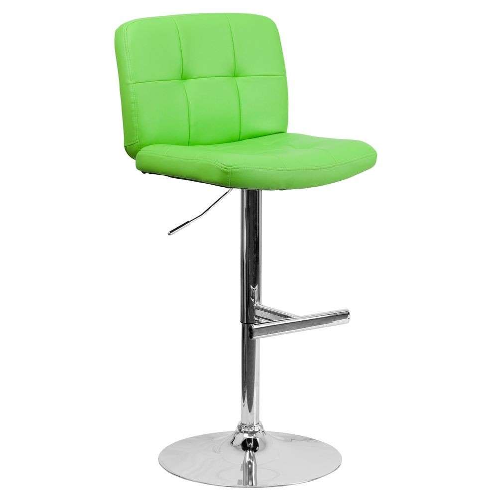 Flash Furniture DS-829-GRN-GG Contemporary Tufted Green Vinyl Adjustable Height Bar Stool