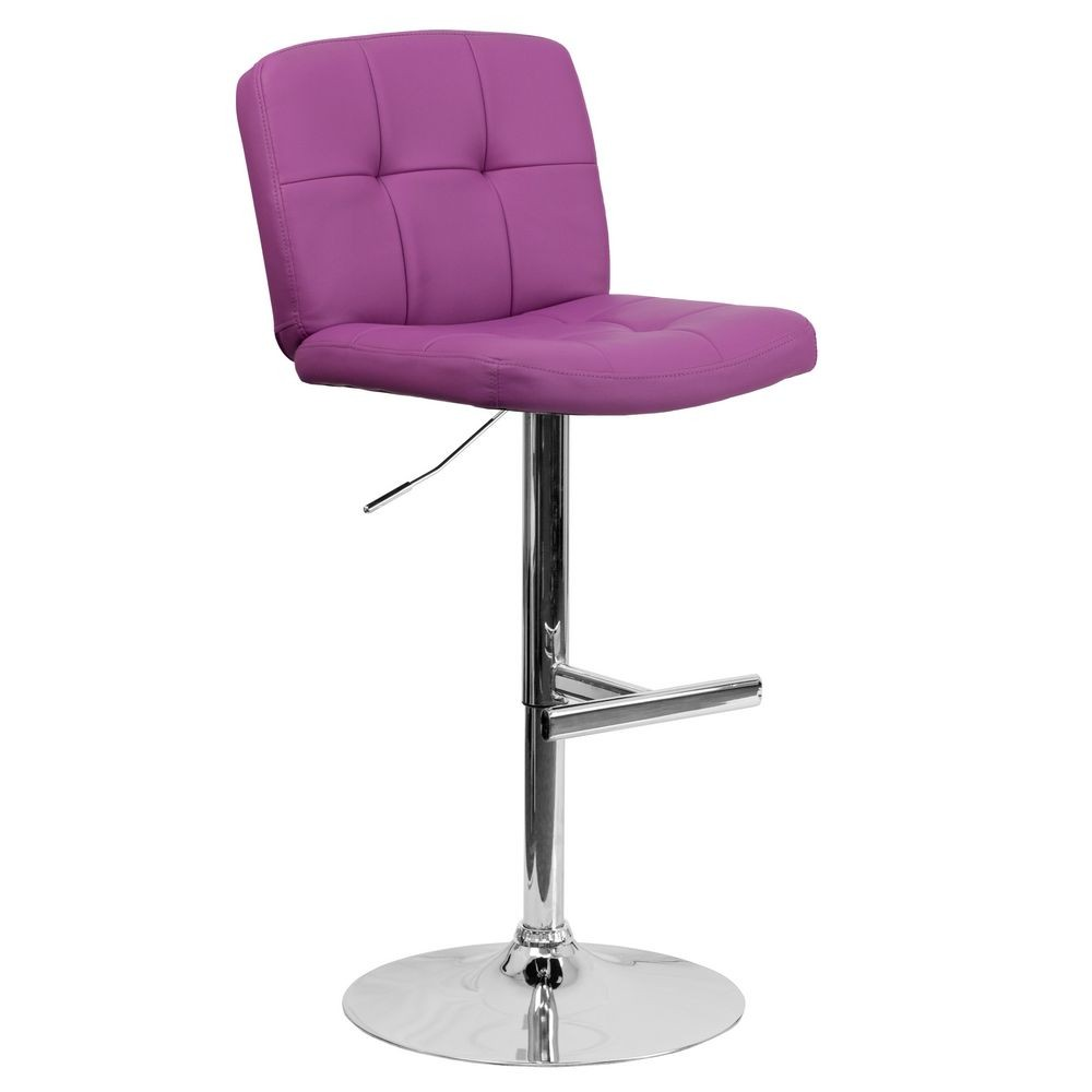 Flash Furniture DS-829-PUR-GG Contemporary Tufted Purple Vinyl Adjustable Height Bar Stool