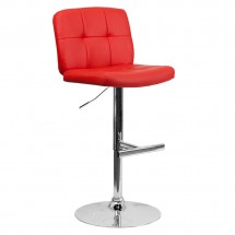 Flash Furniture DS-829-RED-GG Contemporary Tufted Red Vinyl Adjustable Height Bar Stool