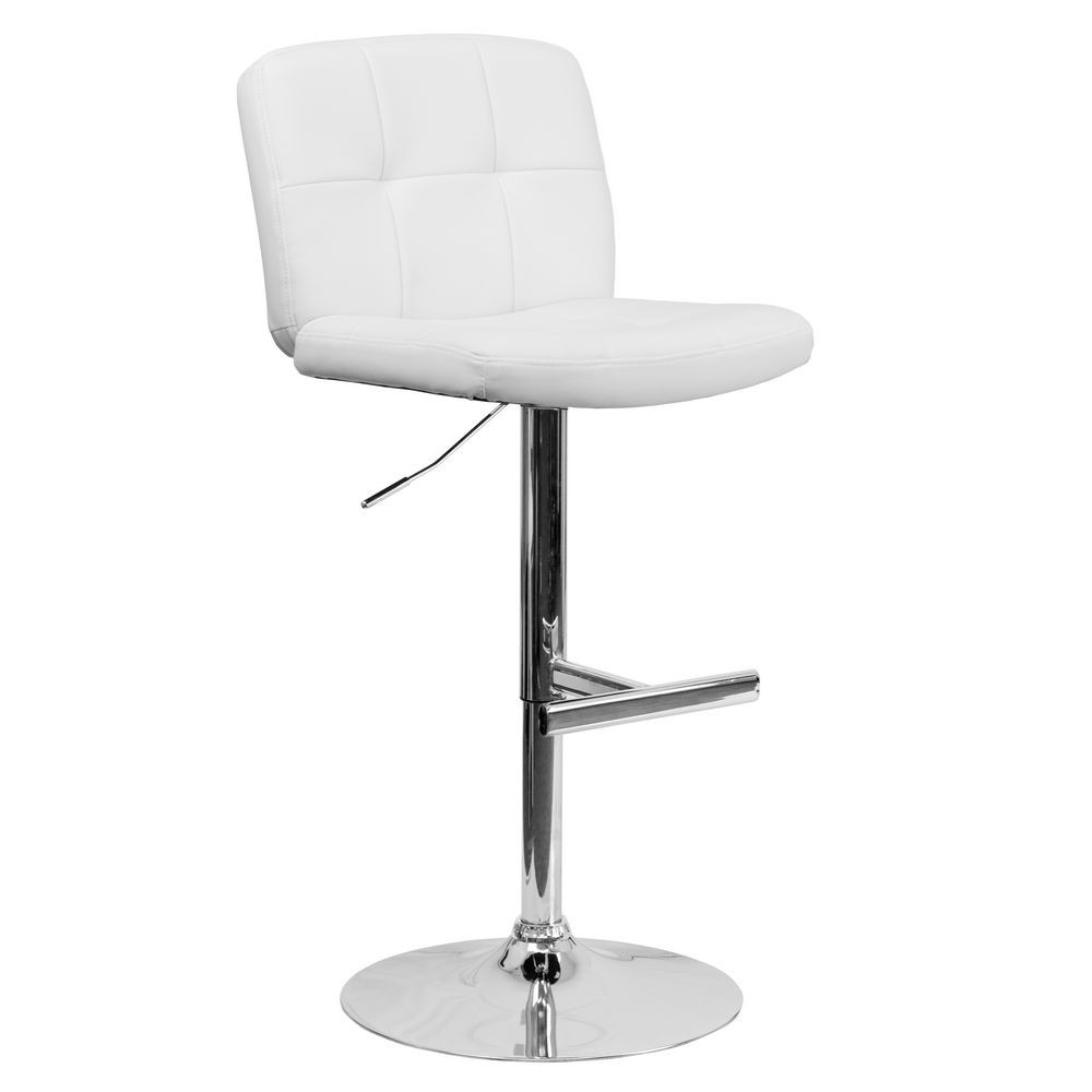 Flash Furniture DS-829-WH-GG Contemporary Tufted White Vinyl Adjustable Height Bar Stool