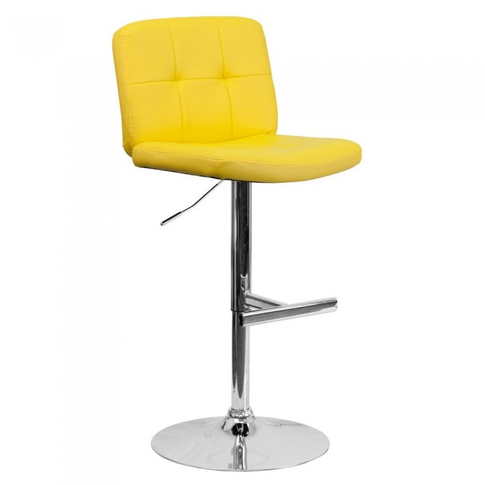 Flash Furniture DS-829-YEL-GG Contemporary Tufted Yellow Vinyl Adjustable Height Bar Stool