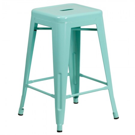 """Flash Furniture ET-BT3503-24-MINT-GG Backless Mint Green Indoor-Outdoor Counter Height Stool with Square Seat 24"""""""