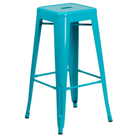 """Flash Furniture ET-BT3503-30-CB-GG Backless Crystal Teal-Blue Metal Indoor-Outdoor Barstool with Square Seat 30"""""""