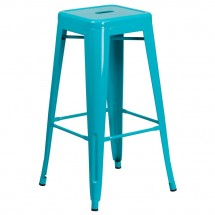 Flash Furniture ET-BT3503-30-CB-GG Backless Crystal Teal-Blue Metal Indoor-Outdoor Barstool with Square Seat 30