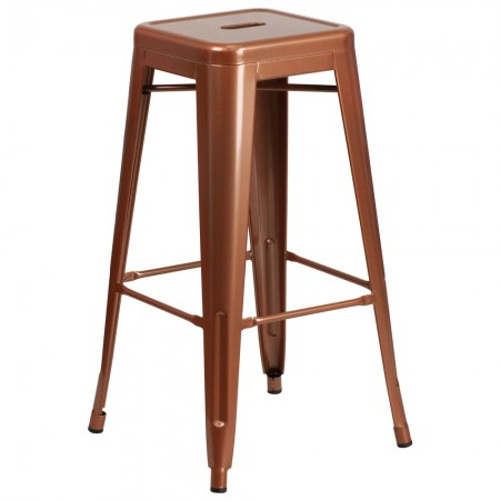 """Flash Furniture ET-BT3503-30-POC-GG Backless Copper Metal Indoor-Outdoor Barstool with Square Seat 30"""""""