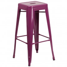 """Flash Furniture ET-BT3503-30-PUR-GG Backless Purple Metal Indoor-Outdoor Barstool with Square Seat 30"""""""
