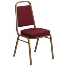 Flash Furniture FD-BHF-1-ALLGOLD-0847-BY-GG HERCULES Series Trapezoidal Back Stacking Burgundy Banquet Chair - Gold Frame