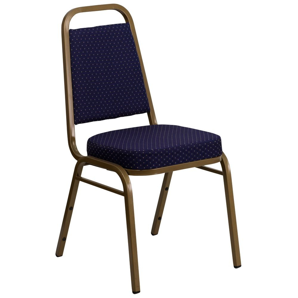 Flash Furniture FD-BHF-1-ALLGOLD-0849-NVY-GG HERCULES Series Trapezoidal Back Stacking Navy Banquet Chair - Gold Frame