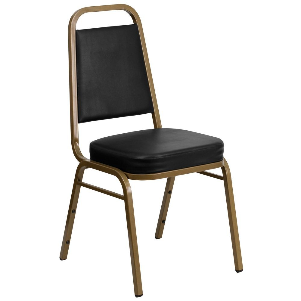 Flash Furniture FD-BHF-1-ALLGOLD-BK-GG HERCULES Trapezoidal Back Stacking Banquet Chair, Black Vinyl - Gold Frame