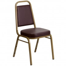 Flash Furniture FD-BHF-1-ALLGOLD-BN-GG HERCULES Series Trapezoidal Back Stacking Brown Vinyl Banquet Chair - Gold Frame
