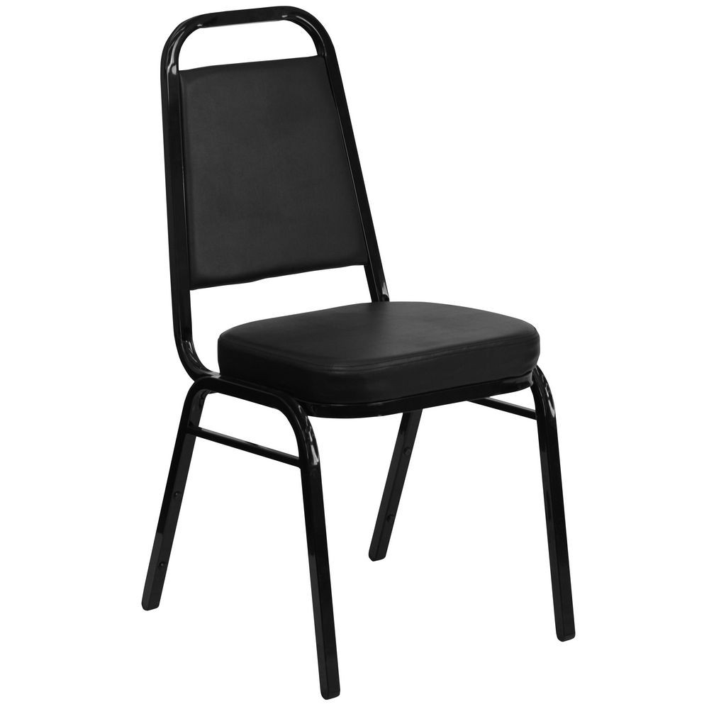 Flash Furniture FD-BHF-1-GG HERCULES Series Trapezoidal Back Stacking Black Vinyl Banquet Chair - Black Frame
