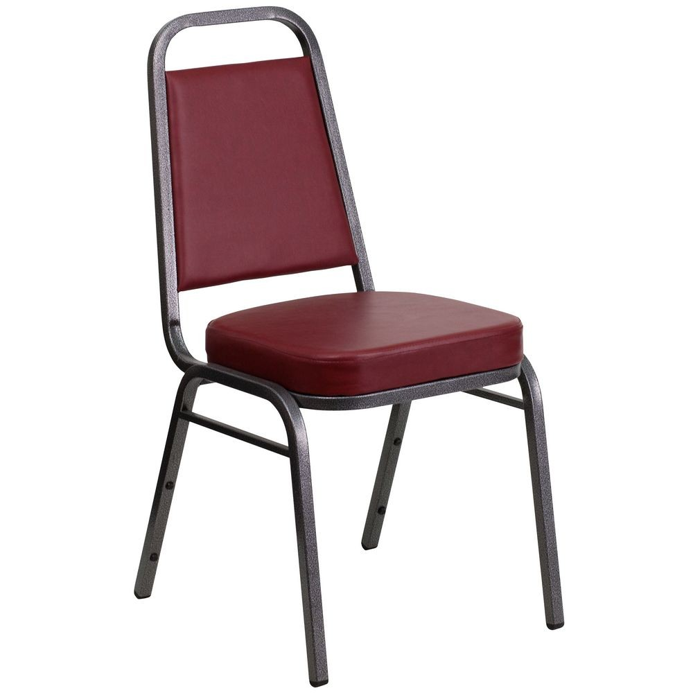 Flash Furniture FD-BHF-1-SILVERVEIN-BY-GG HERCULES Series Trapezoidal Back Stacking Burgundy Vinyl Banquet Chair - Silver Vein Frame