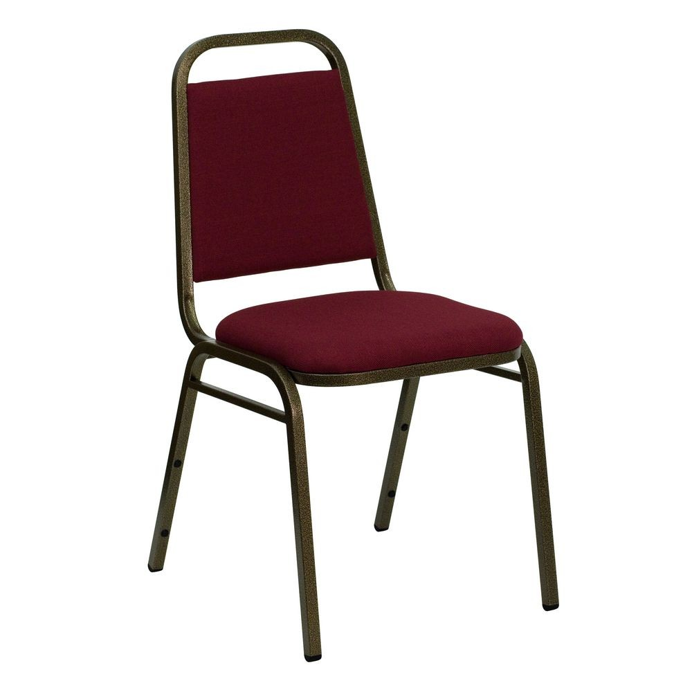 Flash Furniture FD-BHF-2-BY-GG HERCULES Series Trapezoidal Back Stacking Burgundy Banquet Chair - Gold Vein Frame