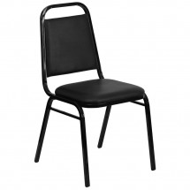Flash Furniture FD-BHF-2-GG HERCULES Series Upholstered Stack Chair with Trapezoidal Back Black Frame and Black Seat