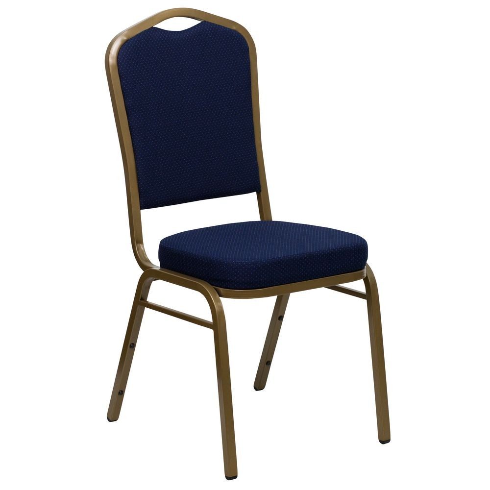 Flash Furniture FD-C01-ALLGOLD-2056-GG HERCULES Series Crown Back Navy Stacking Banquet Chair - Gold Frame