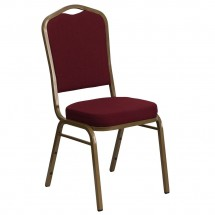 Flash Furniture FD-C01-ALLGOLD-3169-GG HERCULES Series Crown Back Stacking Burgundy Banquet Chair - Gold Frame