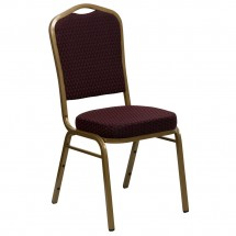 Flash Furniture FD-C01-ALLGOLD-EFE1679-GG HERCULES Series Crown Back Burgundy Stacking Banquet Chair with 2.5 Thick Seat - Gold Frame