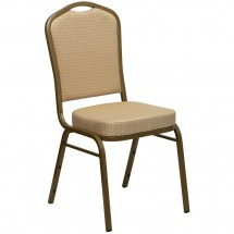Flash Furniture FD-C01-ALLGOLD-H20124E-GG HERCULES Series Crown Back Beige Stacking Banquet Chair - Gold Frame