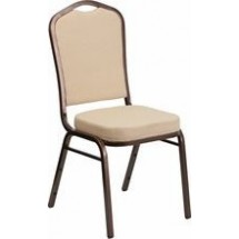 Flash Furniture FD-C01-COPPER-BGE-GG HERCULES Series Crown Back Stacking Beige Banquet Chair - Copper Vein Frame