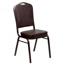 Flash Furniture FD-C01-COPPER-BRN-VY-GG HERCULES Series Crown Back Brown Vinyl Stacking Banquet Chair - Copper Vein Frame