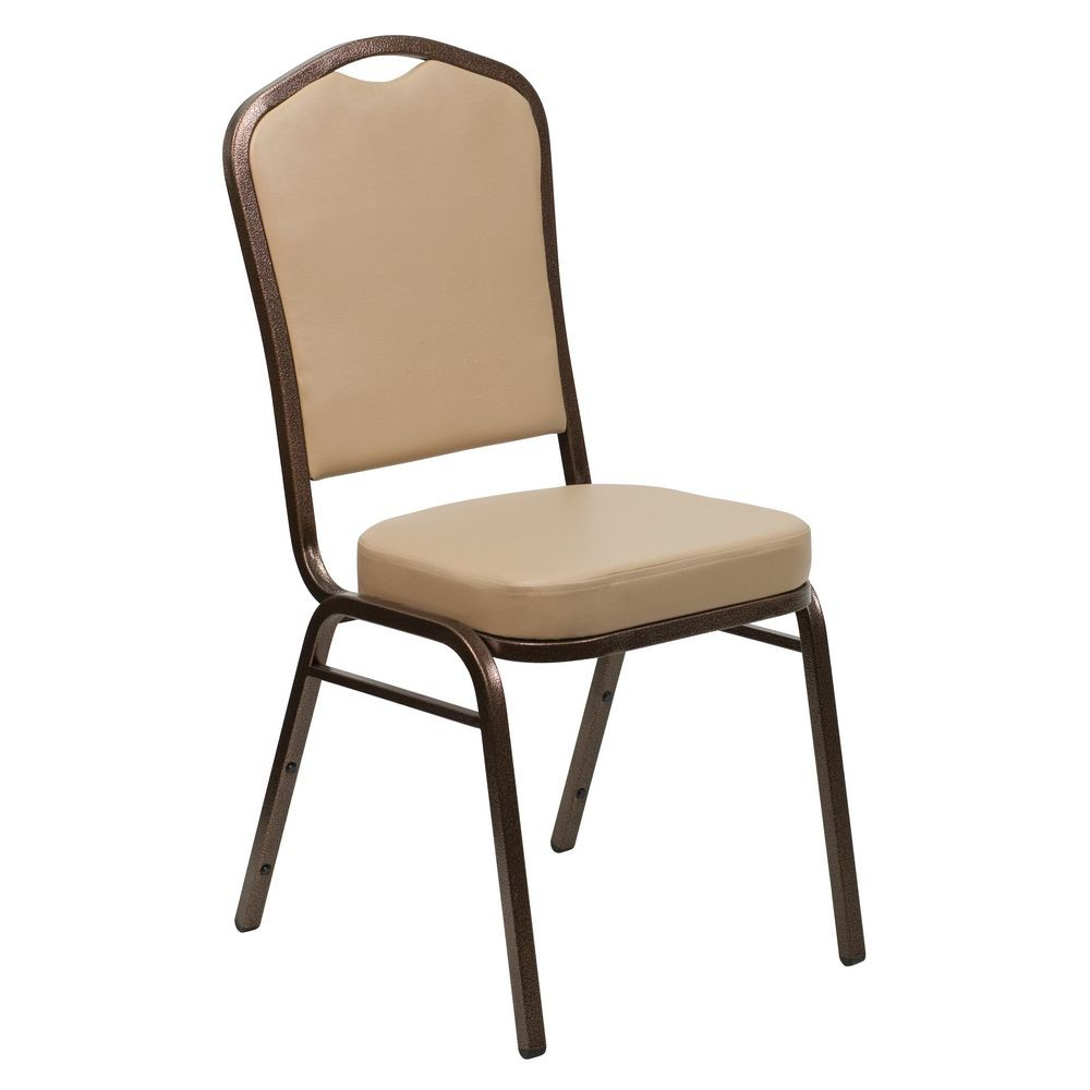 Flash Furniture FD-C01-COPPER-TN-VY-GG HERCULES Series Crown Back Stacking Tan Vinyl Banquet Chair - Copper Vein Frame