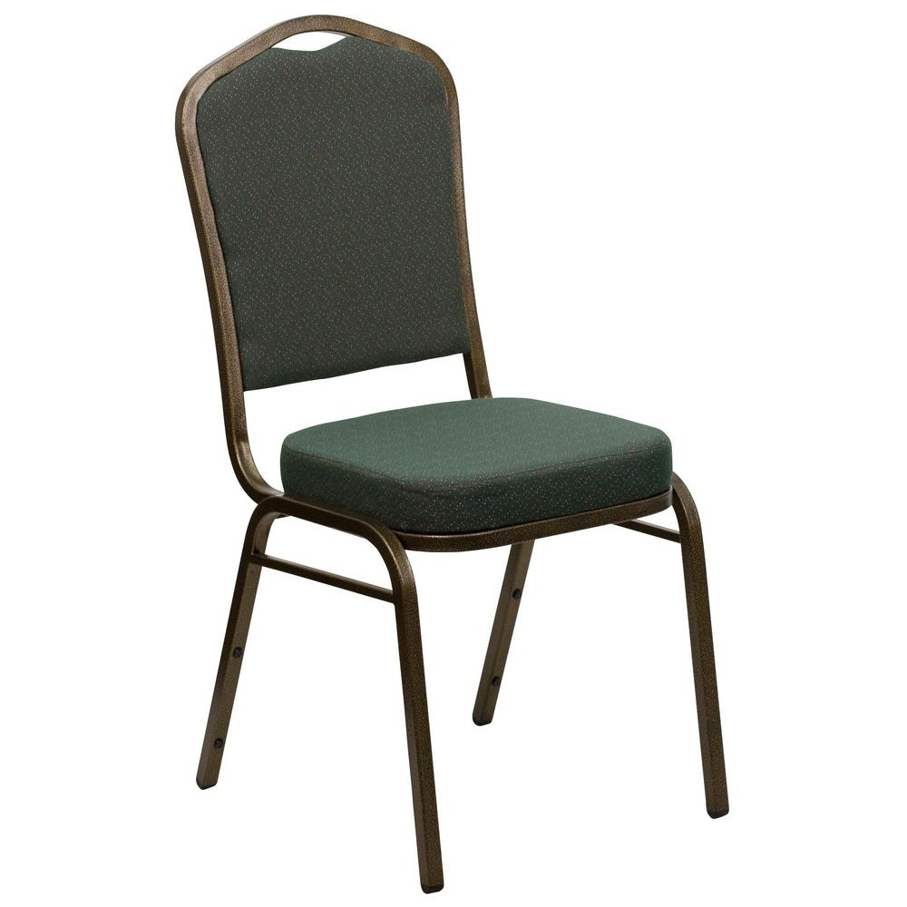Flash Furniture FD-C01-GOLDVEIN-0640-GG HERCULES Series Crown Back Green Stacking Banquet Chair - Gold Vein Frame