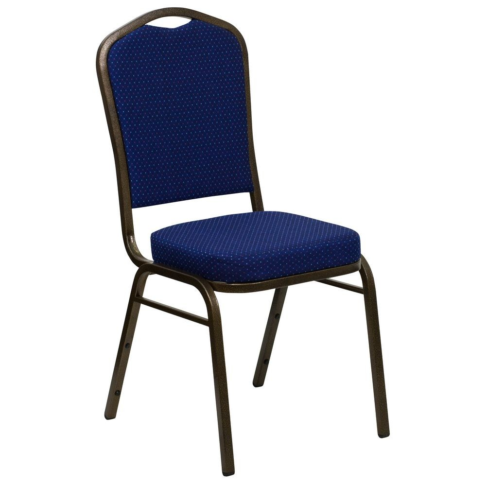Flash Furniture FD-C01-GOLDVEIN-208-GG HERCULES Series Crown Back Navy Stacking Banquet Chair - Gold Vein Frame
