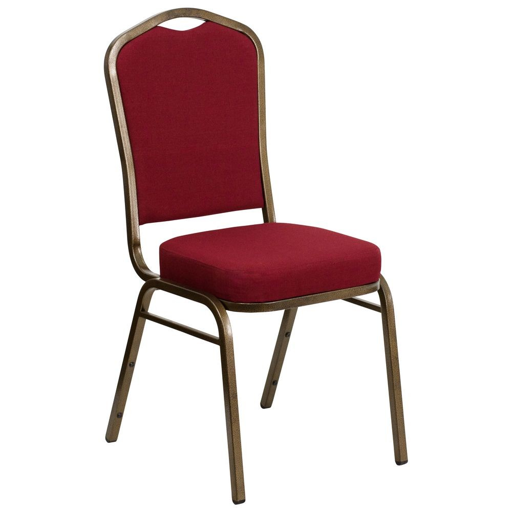 Flash Furniture FD-C01-GOLDVEIN-3169-GG HERCULES Series Crown Back Stacking Burgundy Banquet Chair - Gold Vein Frame