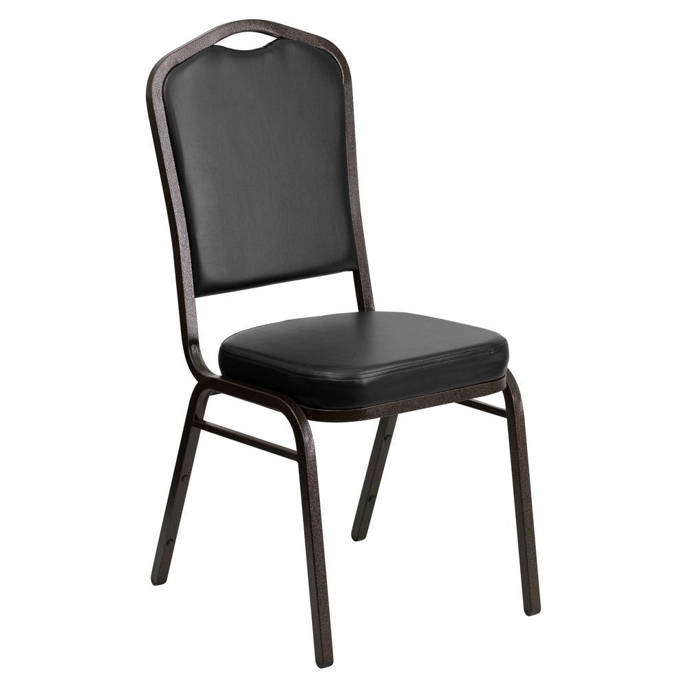 Flash Furniture FD-C01-GOLDVEIN-BK-VY-GG HERCULES Series Crown Back Stacking Banquet Chair with Black Vinyl - Gold Vein Frame