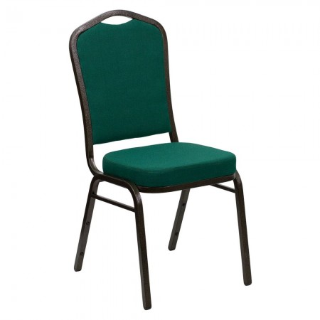 Flash Furniture FD-C01-GOLDVEIN-GN-GG HERCULES Series Crown Back Green Stacking Banquet Chair - Gold Vein Frame