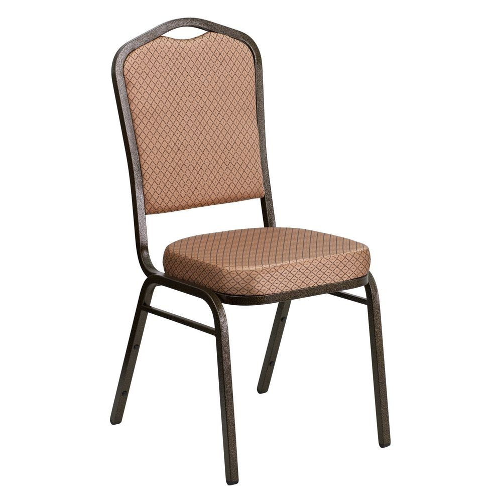 Flash Furniture FD-C01-GOLDVEIN-GO-GG HERCULES Series Crown Back Gold Diamond Stacking Banquet Chair - Gold Vein Frame
