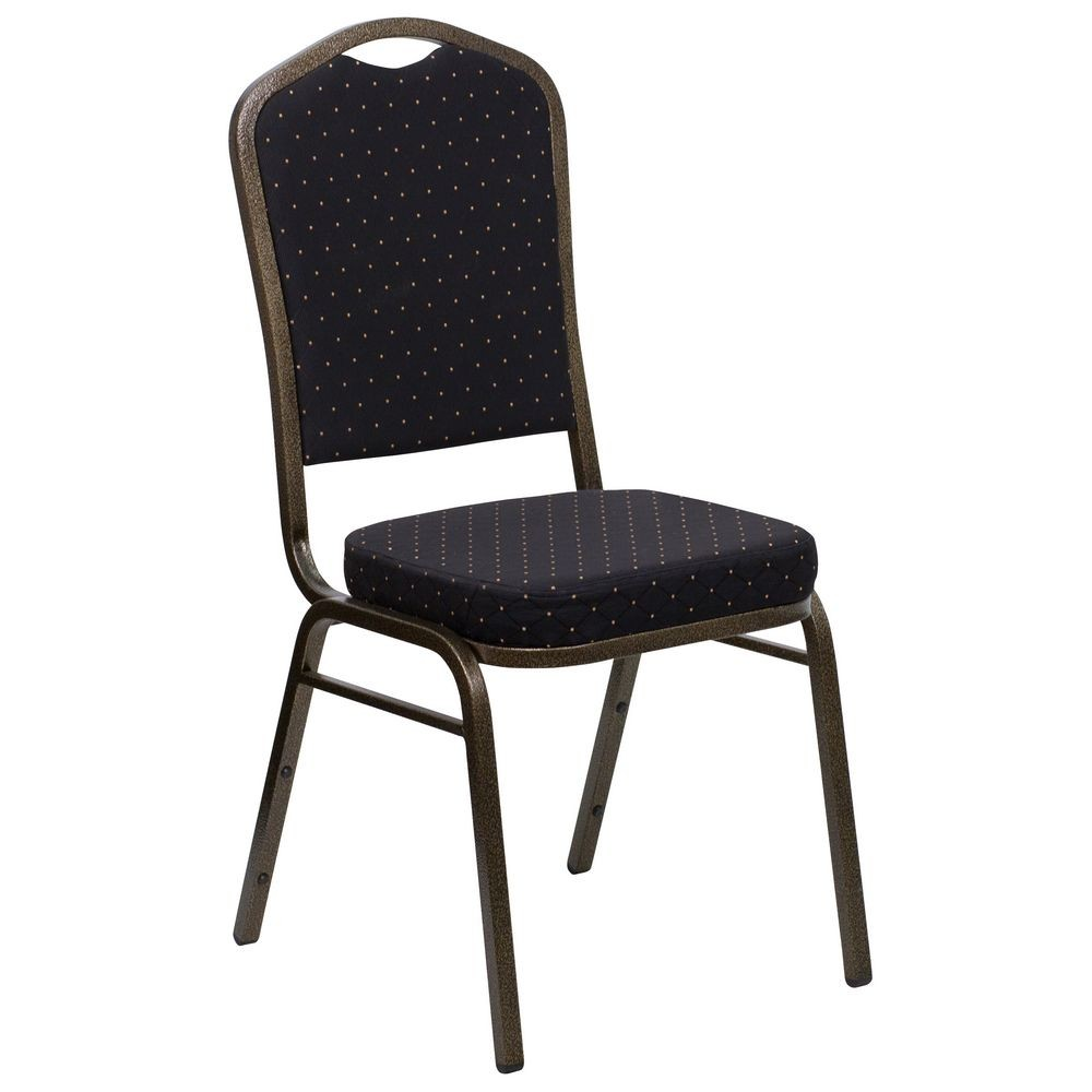 Flash Furniture FD-C01-GOLDVEIN-S0806-GG HERCULES Series Crown Back Black Stacking Banquet Chair - Gold Vein Frame
