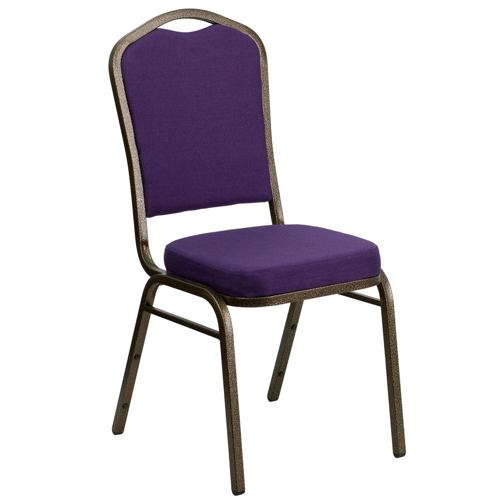 Flash Furniture FD-C01-PUR-GV-GG HERCULES Series Crown Back Purple Stacking Banquet Chair - Gold Vein Frame