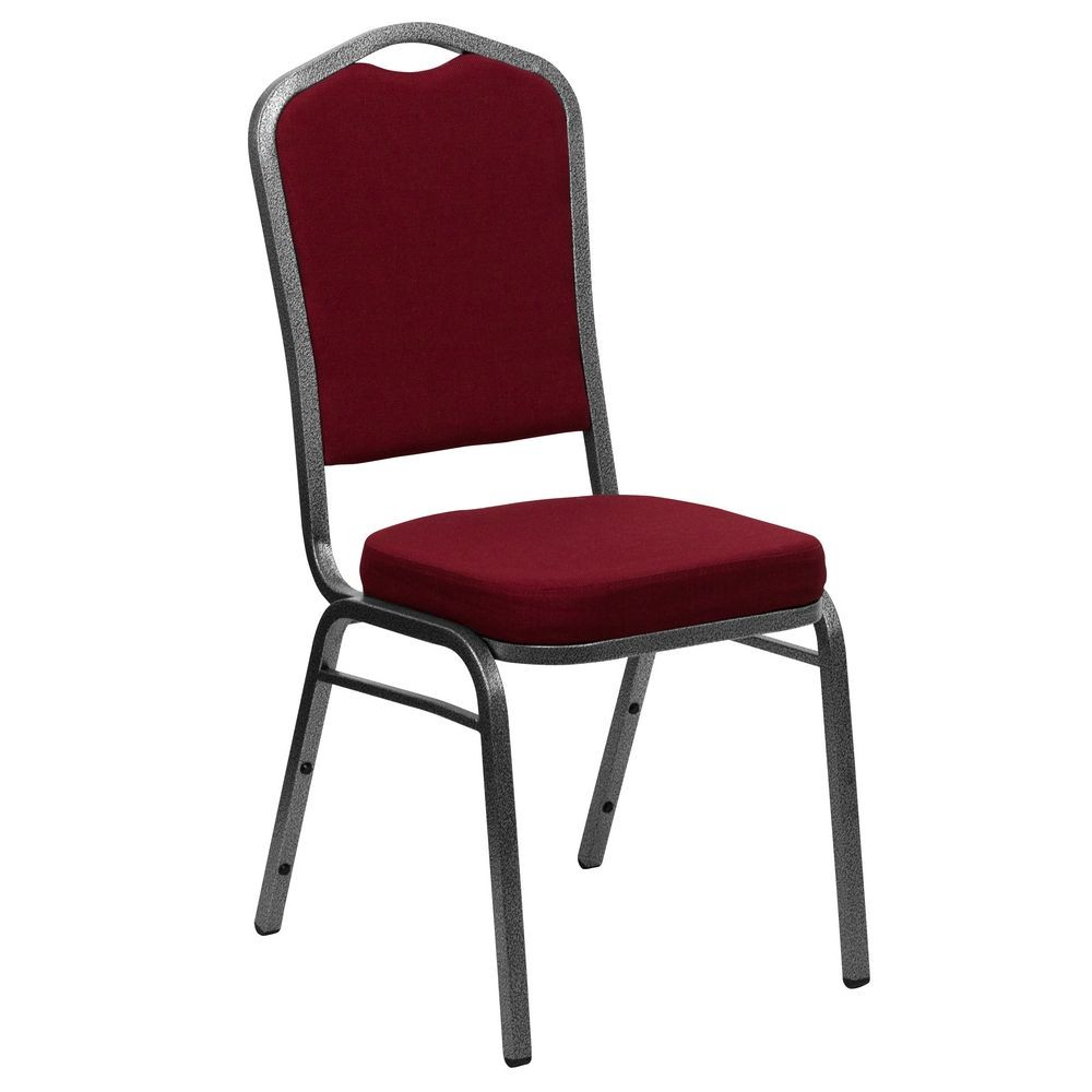 Flash Furniture FD-C01-SILVERVEIN-3169-GG HERCULES Series Crown Back Burgundy Stacking Banquet Chair - Silver Vein Frame