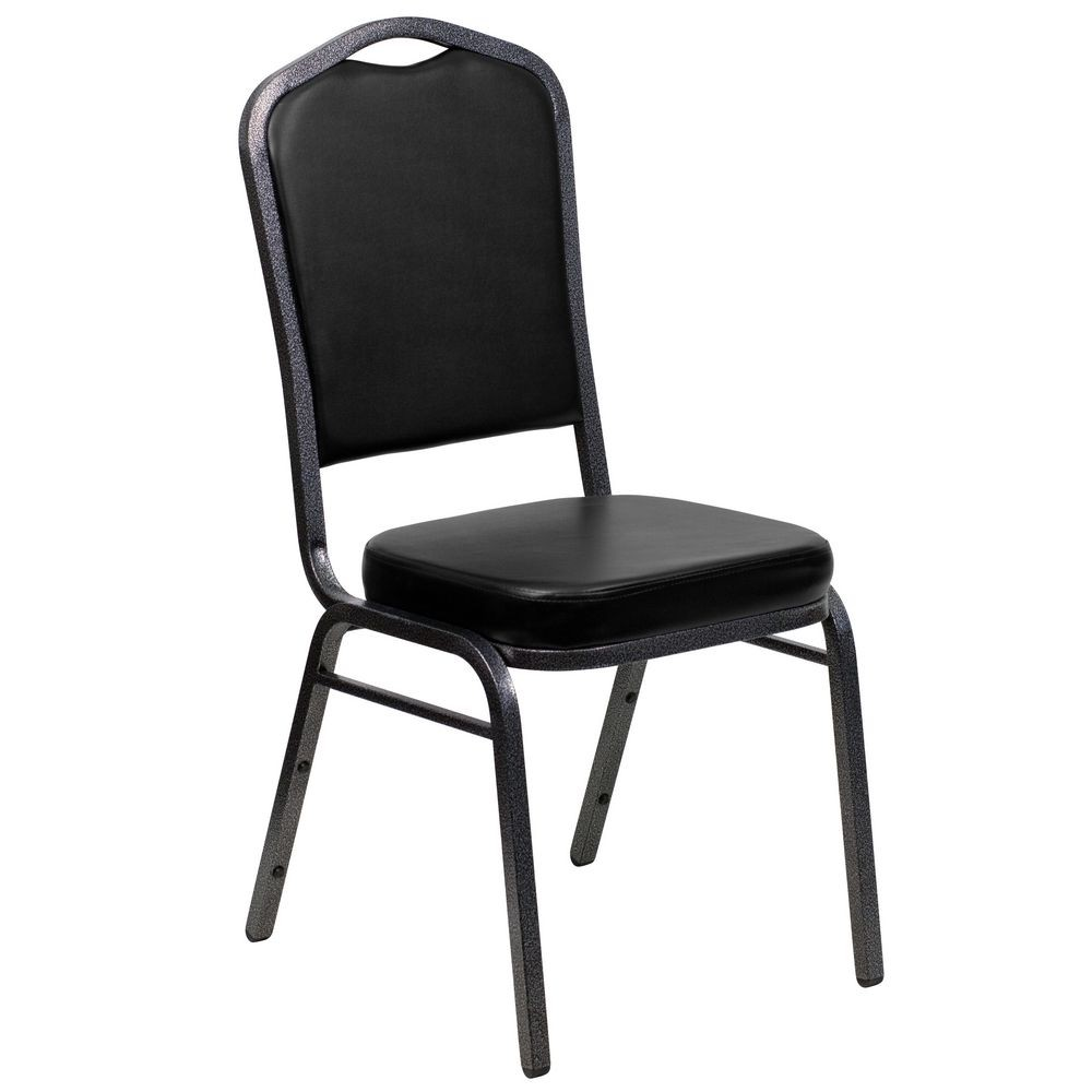 Flash Furniture FD-C01-SILVERVEIN-BK-VY-GG HERCULES Series Crown Back Black Stacking Banquet Chair - Silver Vein Frame