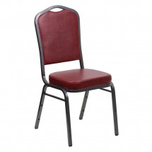 Flash Furniture FD-C01-SILVERVEIN-BURG-VY-GG HERCULES Series Crown Back Burgundy Stacking Banquet Chair - Silver Vein Frame