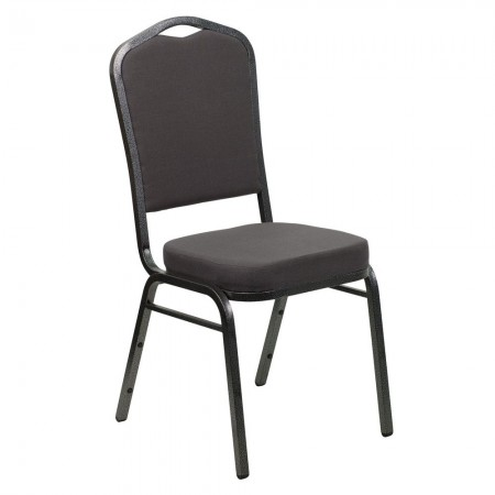 Flash Furniture FD-C01-SILVERVEIN-GY-GG HERCULES Series Crown Back Gray Fabric Stacking Banquet Chair - Silver Vein Frame