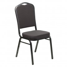 Flash Furniture FD-C01-SILVERVEIN-GY-GG HERCULES Series Crown Back Gray Vinyl Stacking Banquet Chair - Silver Vein Frame