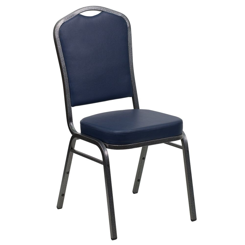 Flash Furniture FD-C01-SILVERVEIN-NY-VY-GG HERCULES Series Crown Back Navy Vinyl Stacking Banquet Chair with Navy Vinyl - Silver Vein Frame