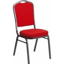 Flash Furniture FD-C01-SILVERVEIN-RED-GG HERCULES Series Crown Back Stacking Banquet Chair with Red Fabric - Silver Vein Frame