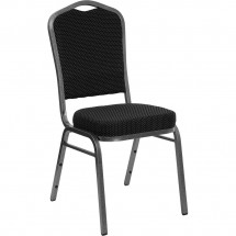 Flash Furniture FD-C01-SILVERVEIN-S076-GG HERCULES Series Crown Back Black Patterned Stacking Banquet Chair - Silver Vein Frame